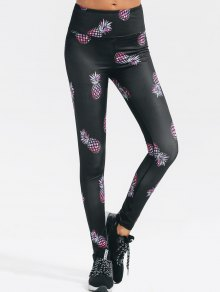 High Waisted Pineapple Print Gym Yoga Leggings - Black L