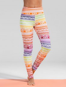 High Waisted Geometric Print Gym Yoga Leggings - M