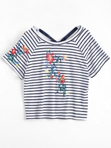 Stripes Floral Embroidered Bowknot Top