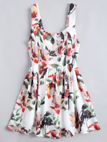 Back Zipper Floral A-Line Mini-robe - Floral L
