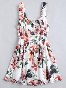 Back Zipper Floral A-Line Mini Dress - Floral M