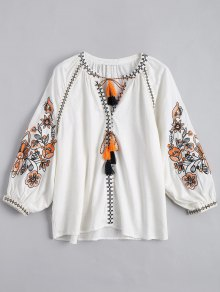 String Tassels Embroidered Blouse - White L