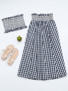 Ruffles Smocked Tube Top Et Checked A-Line Maxi Jupe - Noir L