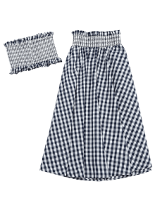 Ruffles Smocked Tube Top And Checked A-Line Maxi Skirt BLACK: Two ...