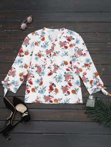 Loose Floral Bowknot Blouse