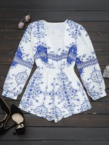 Plunge Printed Chiffon Romper - Blue And White L