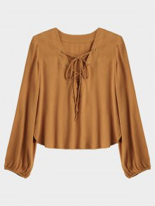Lace Up Plunging Neck Blouse - Earthy M