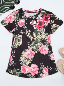 Round Neck Floral Print Tee - Floral M