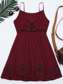 Patchwork Cami Mini Dress - Deep Red