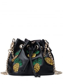 Pineapple Embroidered Chain Bucket Bag - Black