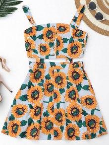 Floral Cut Out Half Buttoned Mini Dres