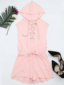Lace Up Drawstring Hooded Romper