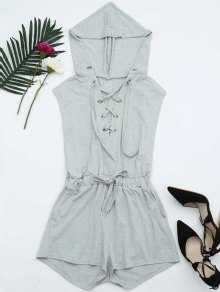 Lace Up Drawstring Hooded Romper - Light Gray M