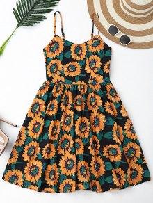 Floral Hollow Out Criss Cross Mini Dress - Black L