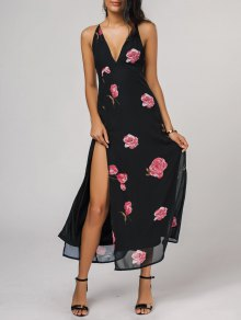 High Cut Plunging Neck Floral Maxi Dress - Black M
