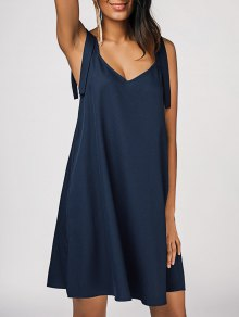 Robe Décontractée En Mousseline De Soie - Bleu Violet L