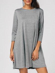 Mini Vestido Casual Suelto De Oscilación  - Gris Xl