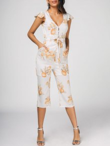 Belted Ruffles Lemon Jumpsuit - White 2xl