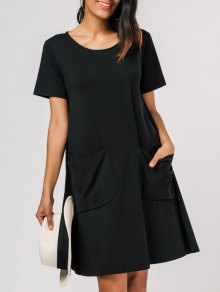Pocket Scoop Neck Trapeze Tee Dress - Black Xl