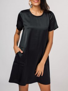 Side Pockets Short Sleeve T-Shirt Dress - Black M