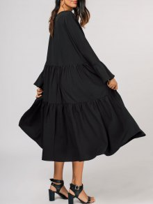 Tiered Flare Sleeve Midi Dress - Black Xl