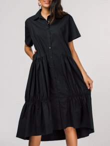 Pleated Single-breasted Shirt Dress - Black