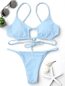 Cutout Braided Bralette String Bikini Set - Light Blue S