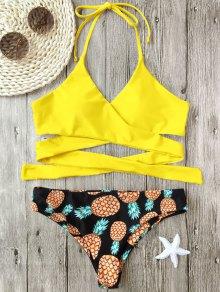 Halter Pineapple Print Wrap Bikini - Yellow M