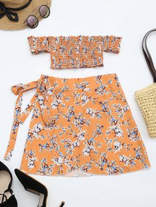 Floral Print Crop Top And Skirt Set - Floral Xl