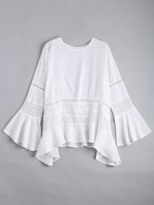 Hollow Out Flare Sleeve Asymmetric Blouse - White L