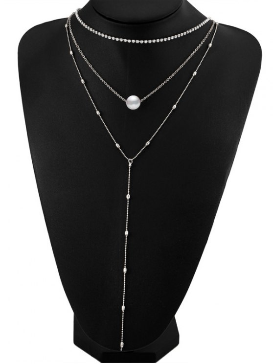 hot Layered Rhinestone Faux Pearl Necklace - SILVER