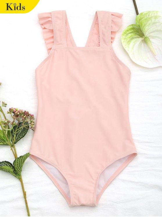 Traje de baño con cuello redondo - Naranja Rosa 7T