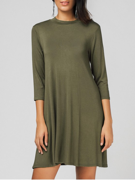 women's Cut Out Swing Casual Dress - ARMY GREEN ONE SIZE