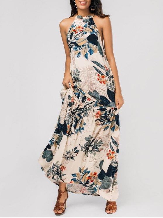 ladies Dropped Armhole Leaf Print Maxi Dress - FLORAL L