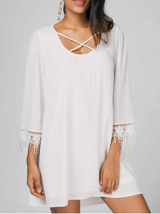 hot Criss Cross Crochet Panel Casual Dress - WHITE M