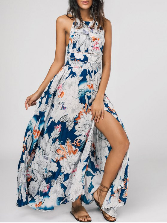 outfits Bowknot Floral Cut Out Maxi Dress - FLORAL M