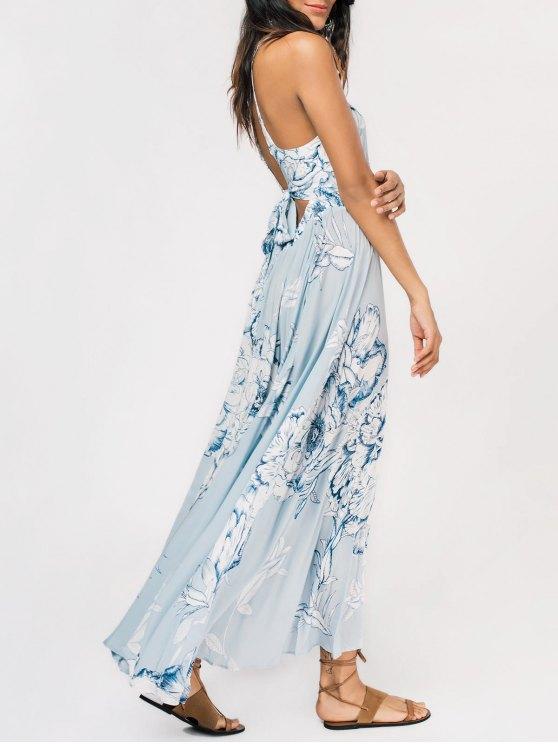 unique Floral High Slit Back Cutout Tied Maxi Dress - LIGHT BLUE M