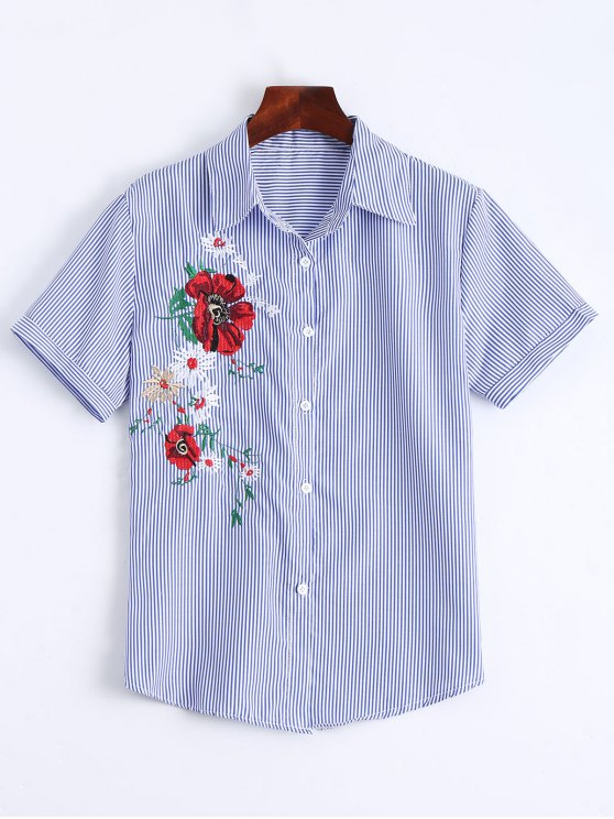 shop Floral Patched Button Up Striped Shirt - STRIPE ONE SIZE