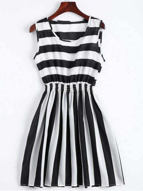 fancy Smocked Panel Striped A Line Mini Dress - STRIPE S