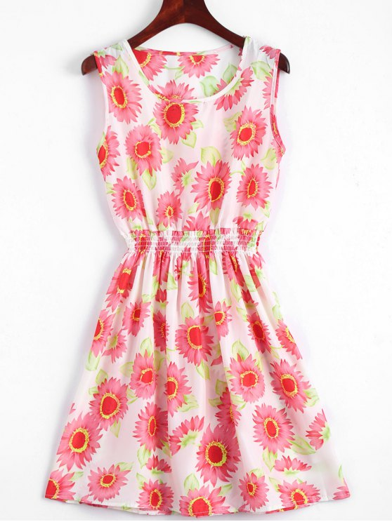 buy Smocked Waist Floral A Line Dress - RED S