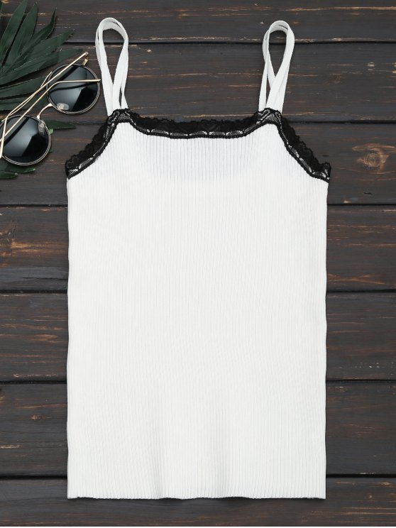 shop Heart Lace Hem Ribbed Cami Top - WHITE ONE SIZE