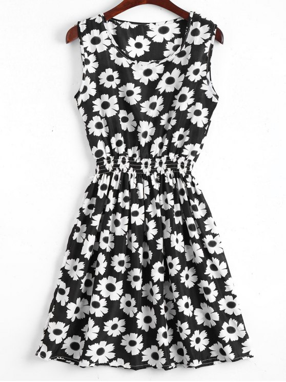 shops Smocked Waist Floral A Line Dress - WHITE AND BLACK S