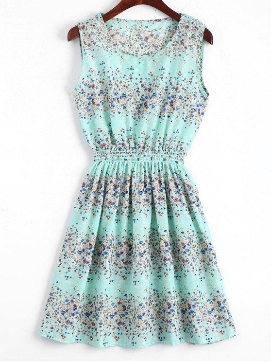 sale Smocked Waist Floral A Line Dress - LIGHT BLUE S