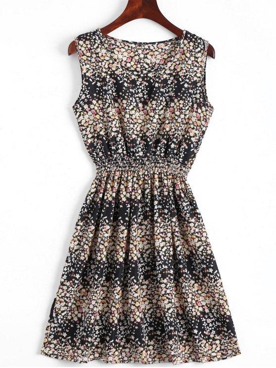 online Smocked Waist Floral A Line Dress - BLACK S