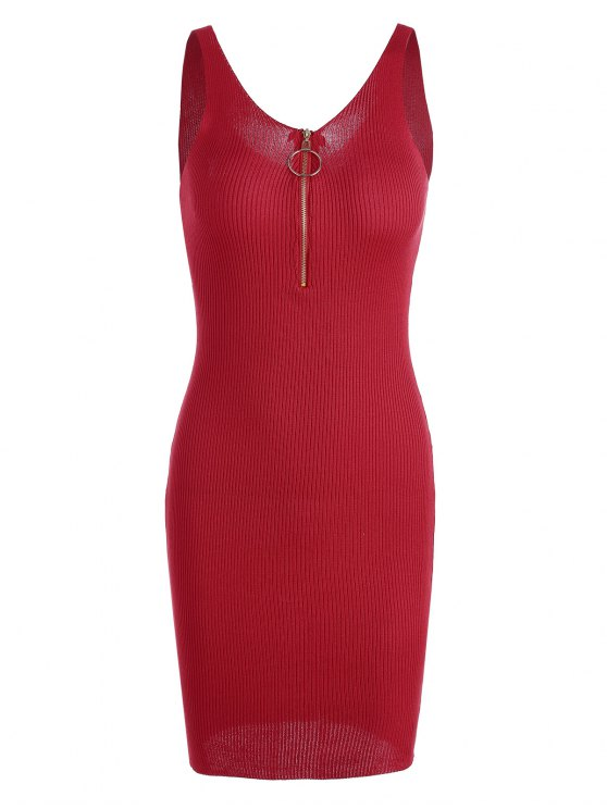 fashion Plunging Neck Ribbed Knitted Bodycon Dress - RED ONE SIZE