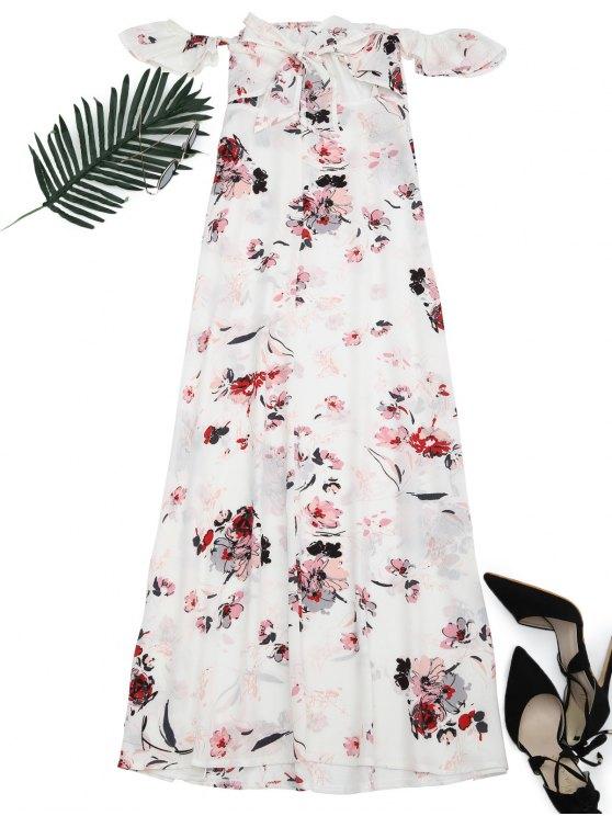 ladies Floral Printed High Slit Maxi Dress - FLORAL XL
