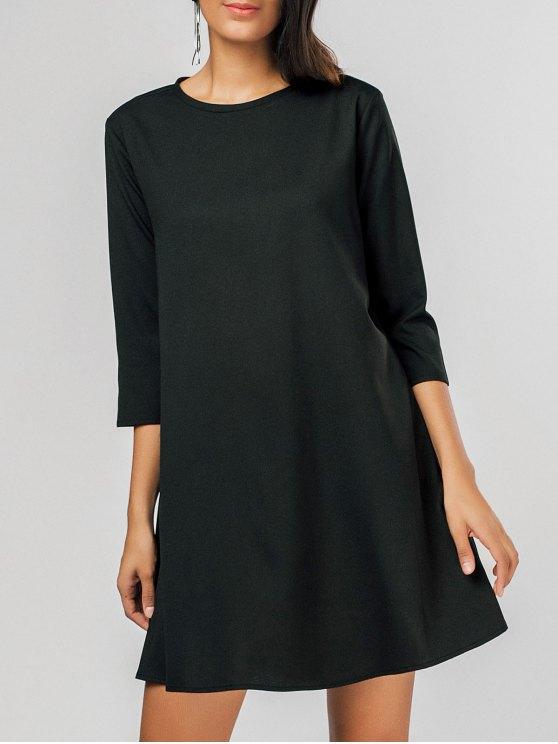 shops Casual Keyhole Swing Mini Dress - BLACK XL