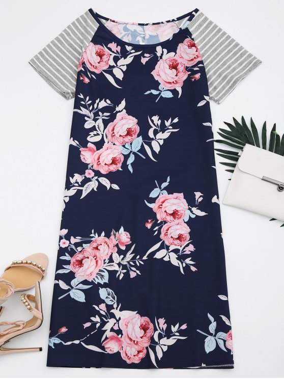 latest Striped Sleeve Floral Print Dress - FLORAL 2XL