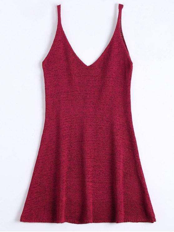 women's Mini Cami A Line Dress - DEEP RED ONE SIZE