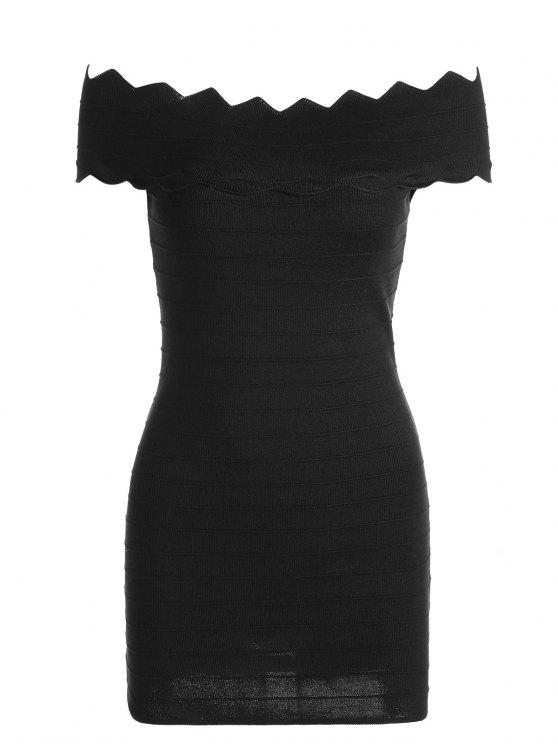 womens Off The Shoulder Zigzag Hem Bodycon Dress - BLACK ONE SIZE